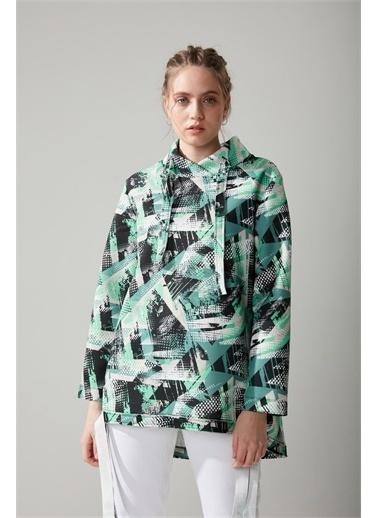 Mizalle Scuba Yeşil Sweatshirt Yeşil